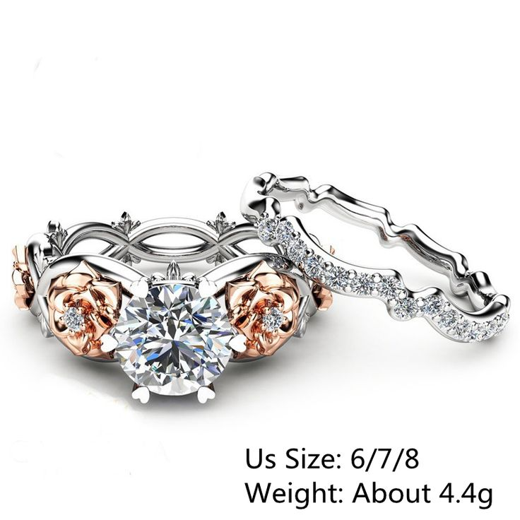 High-quality Elegant Zircon Inlaid Rose Gold Flower Heart Hollow Platinum Ring Set Gift for Women - NewChic