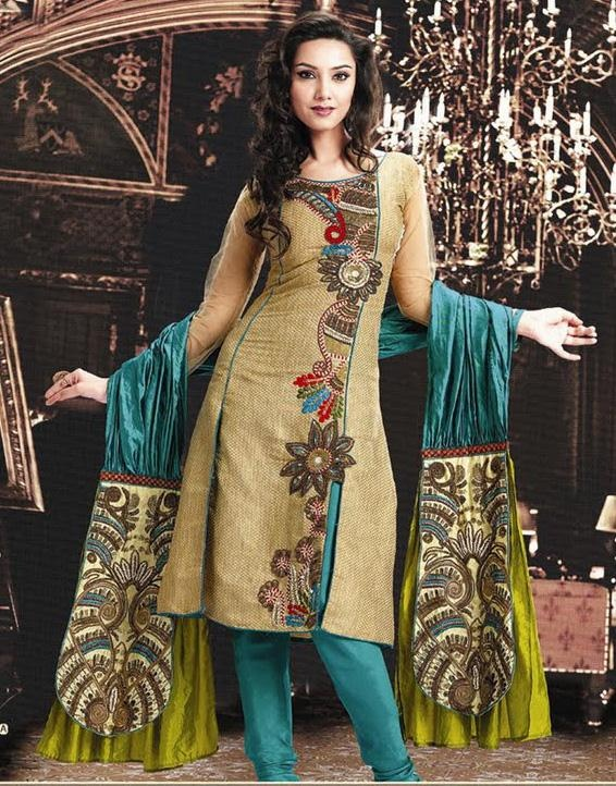 Teal Full Sleeve Georgette Anarkali Salwar Kameez 15783