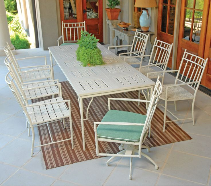 Traditional Styled Cast Aluminum Patio Dining Set With 8 Chairs. Available  In Different Frame Colors