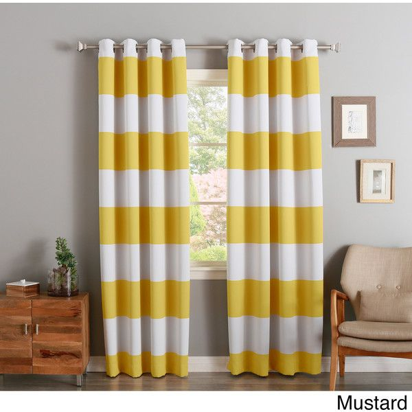 Aurora Home Cabana Stripe-Printed Room Darkening Curtain Panel Pair (£43) ❤ liked on Polyvore featuring home, home decor, window treatments, curtains, yellow, room darkening panels, patterned curtains, yellow window panels and yellow grommet curtains