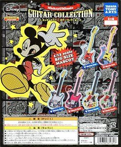 TAKARA TOMY ARTS DISNEY CHARACTERS CAPSULE WORLD GUITAR COLLECTION Mickey & Minnie Mouse Key Chain Pendant Full Set 6pc