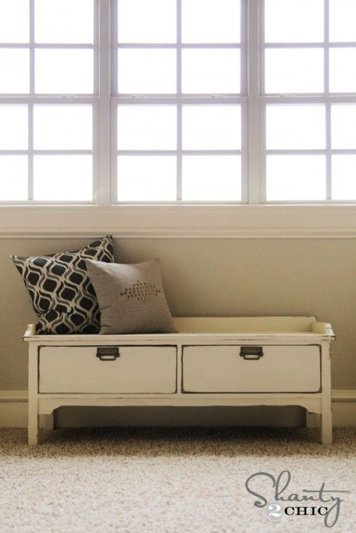 DIY Storage Bench plans. Such a useful little piece of furniture-- not just a bench, and not just a set of drawers... plus, this small size will look good even in small rooms.