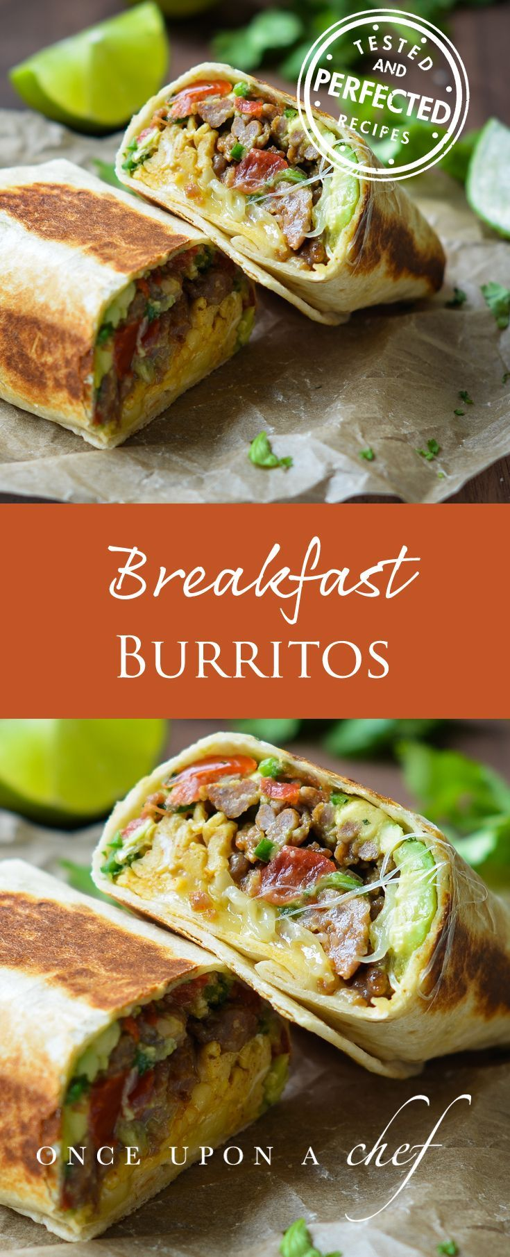 "Filled with spicy sausage, smoky scrambled eggs, cheese, and a bright, fresh avocado-tomato salsa, these breakfast burritos are not only easy to make, but also delicious any time of day. We especially love them for ""brinner."" #breakfast #breakfastfordinner #burritos #testedandperfected"