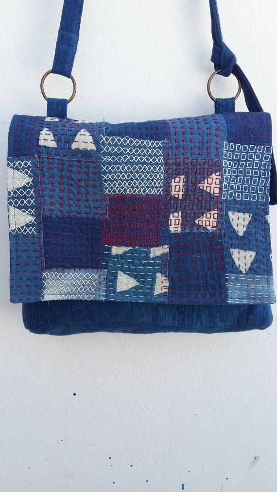 Huis gesponnen, hand weven khadi katoen + indigo + handstitch Boho, boro…
