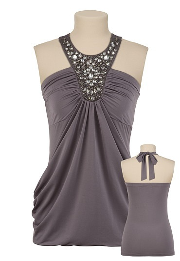 Embellished Neck Pouch Front Top