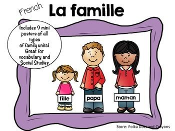 This file includes 9 different family unit posters.Great for Grade 1 and 2 Social Studies or for journal writing vocabulary.Family units included:-un homme, une femme, un chien-papa, maman, fille, fils, chat-papa, fille-maman, fille-maman, maman, fille-papa, papa, fille-grand-pre, grand-mre, papa, maman, fille, fils-oncle, tante, cousin, cousine-grand-mre, grand-pre, petit-enfant, petite-fille, petit-garon-Title bannerPlease take a look at the preview for all posters.Please click here to…