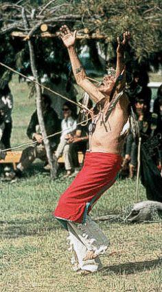 Before the start of the main ritual, the <b>Sun Dance</b> leader prepares ...