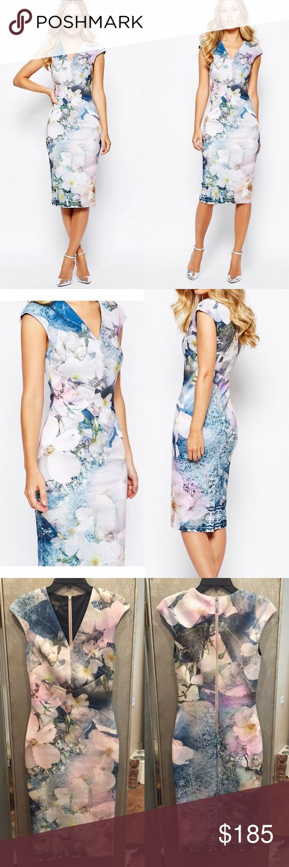 Ted Baker Amily Floral Geo body-conscious dress Beautiful elegant dress! Worn once for a family party. In PERFECT condition, no stains, marks, scratches, etc. as if you just bought it. I've kept it in excellent condition and I absolutely love this dress!! I've put pics up on social media so I cant wear it again. It so beautiful and classy. Beautiful combination of colors, blue, white, pink, and such. On Lyst it is for sale at 295! Ted Baker Dresses Midi