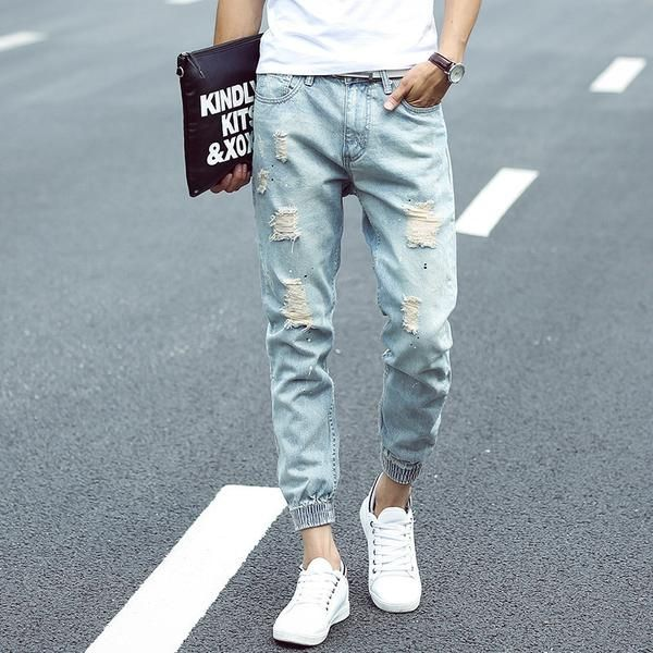 Men's Light Blue Washed Ripped Jean Joggers