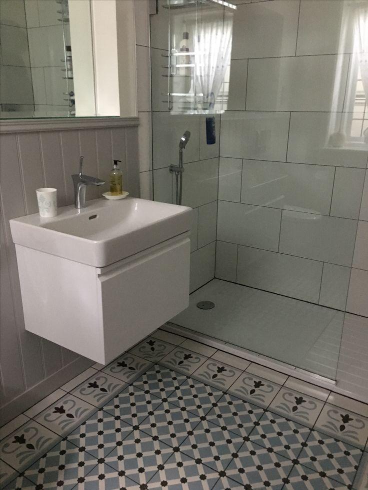 Pavilion Grey shower room & Fired Earth tiles