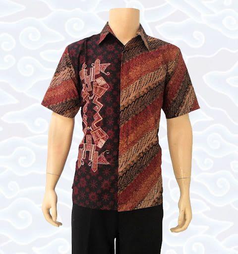 Kemeja batik tulis pria wayang