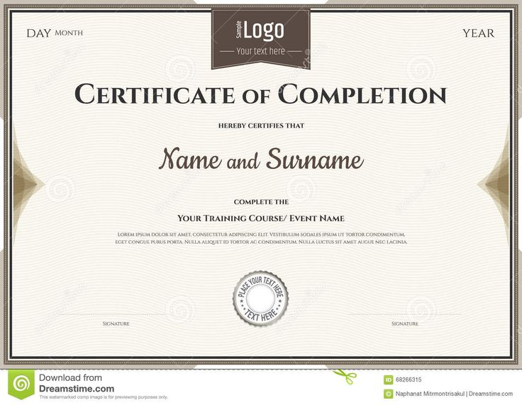 Photo about Certificate of completion template in vector for achievement graduation - 68266315
