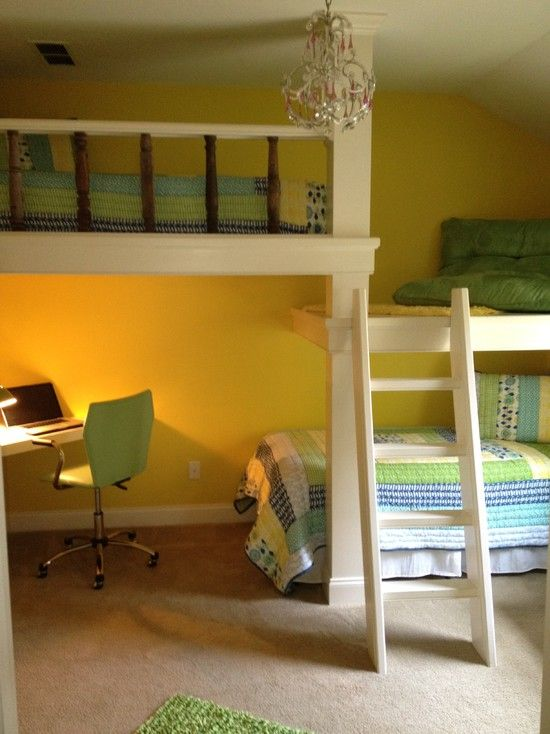 Split-level bunk beds with a lounge landing.