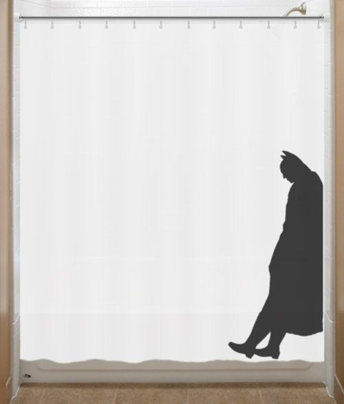 Leaning Batman Shower Curtain Bathroom Decor Bath Kids New Yellow Color Now  Available