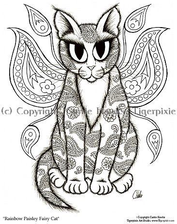 cat color pages printable cat