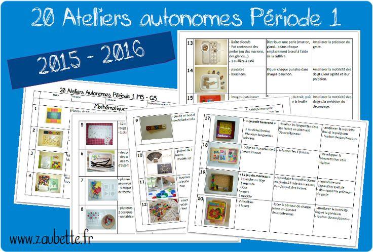 Voici ma sélection de 20 ateliers autonomes pour mes MS et GS pour les mois de septembre et d'octobre. Les ateliers sont très semblables à ceux de l'année dernière à cette époque à l'exception de quel