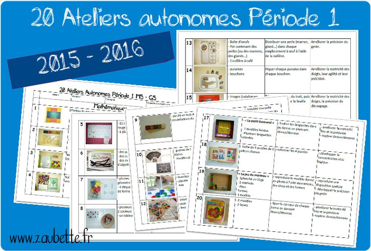 20 ateliers MS-GS période 1 chez Zaubette