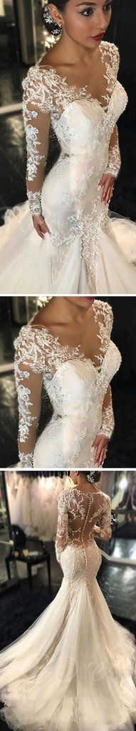 Luxury See Through Long Sleeve Sexy Mermaid Lace Tulle Wedding Dresses – SposaDresses