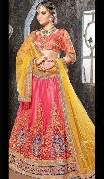 Salmon Color Jacquard Silk Circular Style Lehenga Choli | FH586586343