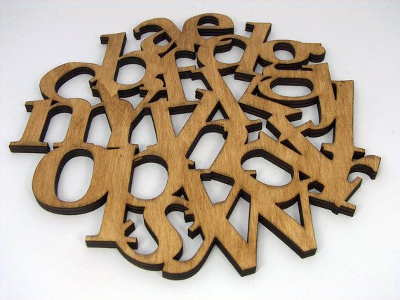 Alphabet wooden Trivet  Pot Stand  Large coaster by InvenioCrafts, €16.00