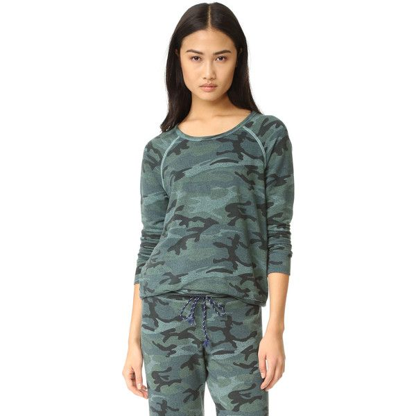 Sundry Camo Pullover ($106) ❤ liked on Polyvore featuring tops, sweaters, camo sweaters, camouflage pullover, camouflage top, camo pullover and sweater pullover