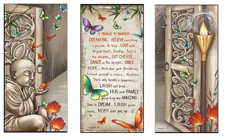 From the Pathways collections - A Promise to Yourself - Lisa Pollock Wall Canvas set 3 Buddha Monk affirmation.. Beautiful with butterflies - Positive affirmation