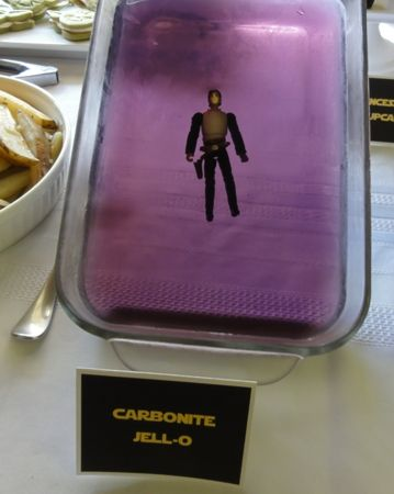 Ultimate Star Wars party, food ideas - seriously amazing!  Have pinned the pic of Han in Jello, as it made me laugh so much!