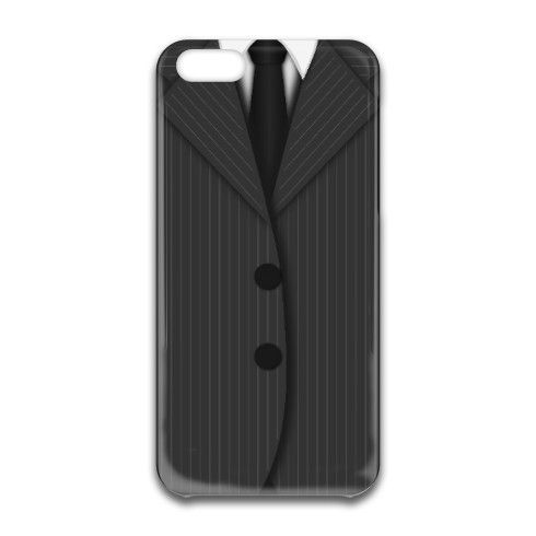 © Sunny Mars Designs. Cool masculine pinstripe design iphone 6 case featuring a man's dark and light grey pin stripe suit, a black tie and buttons.