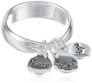 """Sterling Silver """"Peace Love Hope"""" Three Charm Ring"""