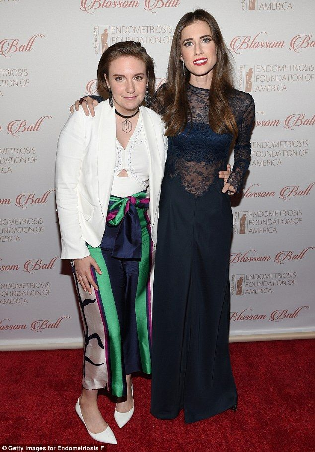 Girls' night out: Allison Williams and Lena Dunham posed together on the red carpet of the...