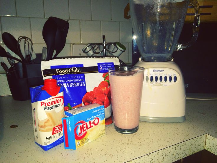 A protein shake with 31 grams of protein at only 210 calories!  And so simple!  One vanilla premier protein shake, blended with a half cup of frozen strawberries, a tablespoon and a half of sugar free jello cheesecake mix and ice cubes for thickness.  A high protein treat or works great as a meal replacement.