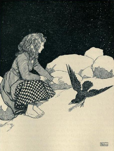 """heaveninawildflower: """" 'Suddenly a large raven hopped upon the snow in front of her' Illustration by W. Heath Robinson from the story 'The Snow Queen' 'Hans Andersen's Fairy Tales' Published 1913 by..."""