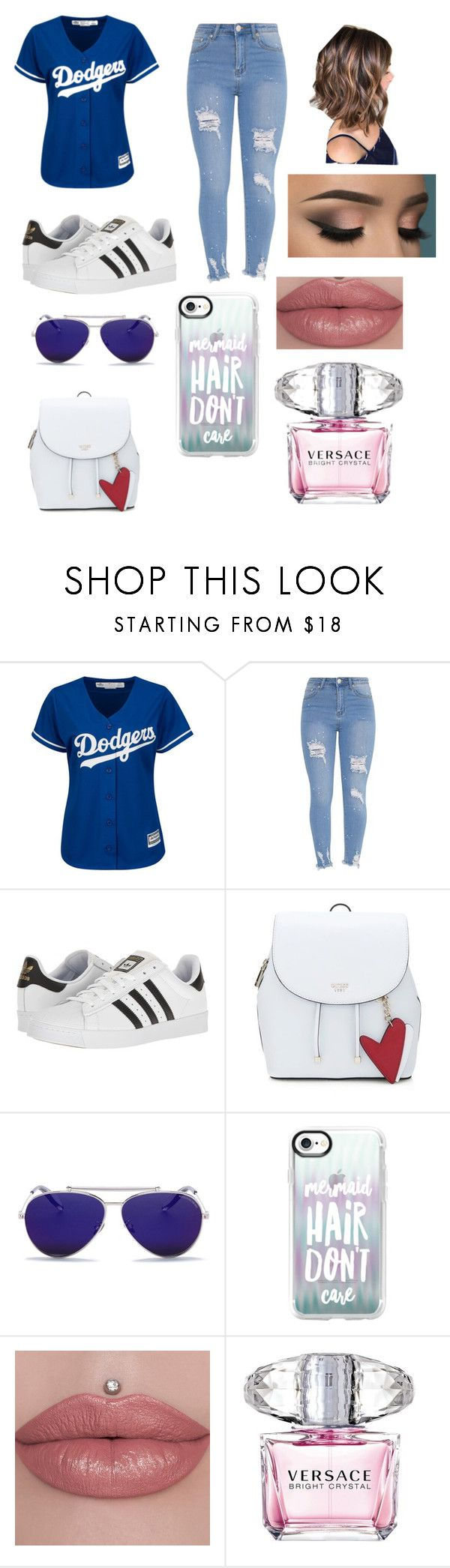 """⚾️ Dodger outfit"" by hailey-102706 ❤ liked on Polyvore featuring adidas, Alexander McQueen, Casetify and Versace"