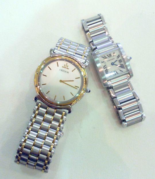 ★HM様/クレドール&カルティエ - タンクフランセーズ ☆両親の形見です。2人とも時計が大好きでした!クレドールはオーバーホールしたばかり。ゆくゆくは孫に。。。と父からの遺言?ですが、まだまだこの時計が似合う歳ではないですねぇ。  〝人生の節目に腕時計を〟
