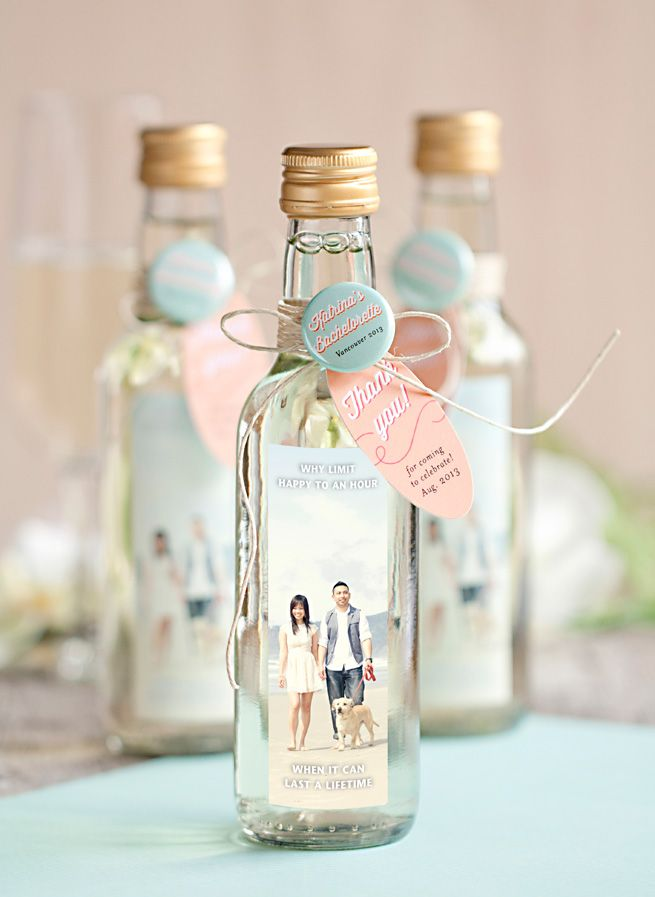 Bachelorette Party Favors from My Own Ideas blog #wedding #favor #personalized #wine #label #button * Bottles with custom labels, tags and wedding buttons.