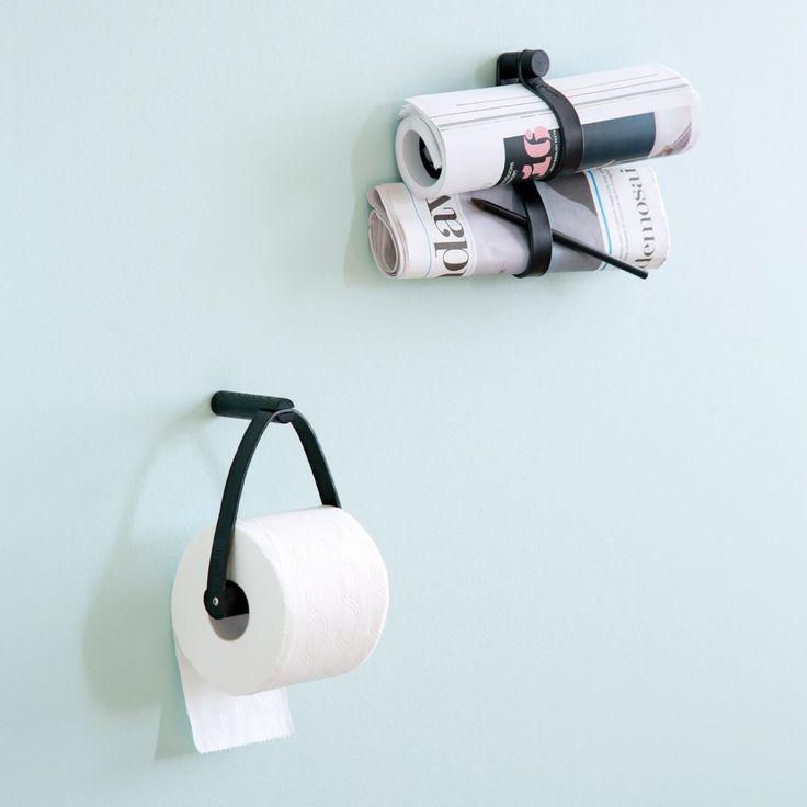Toiletrolhouder en double loop hanger van leer en hout zwart
