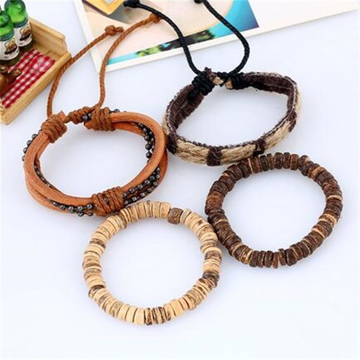 4pcs/ set braided wrap leather bracelets men women vintage wooden beads tribal w…   – Products