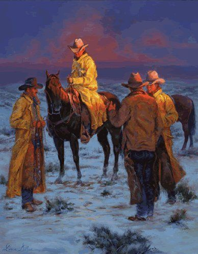 'Slicker Season' - by artist Loma Dillon, (western art, wild wild west)