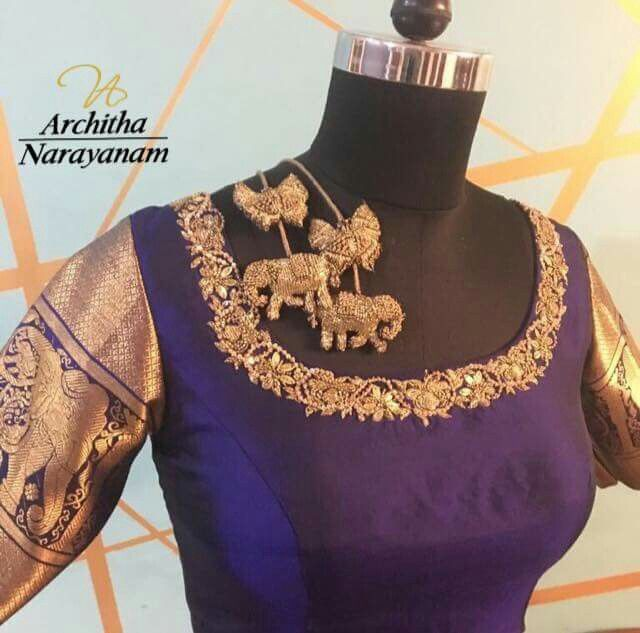 Bridal blouse with embroidered tassels