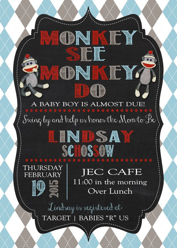 27 best monkey baby shower invitations images on pinterest monkey customized sock monkey baby shower invitations by ajbinvitations filmwisefo