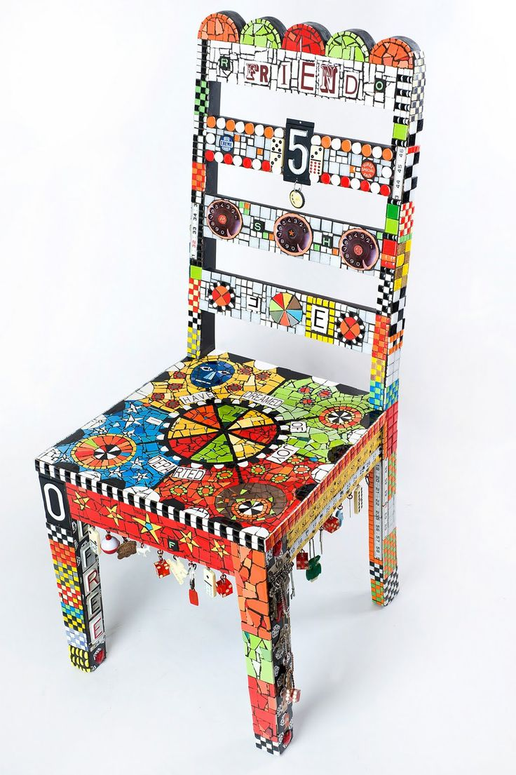 Funky painted furniture ideas - The Moon From My Attic Creating Beautiful Art From Recycled Junk Glass Mosaics Painted Wood Chairspainted
