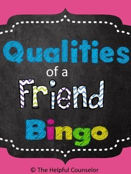 Help your students develop better friendships by teaching them the qualities of a true friend.  Use the Qualities of a Friend Bingo Game to build a positive classroom/school climate, prevent bullying, and reduce relational aggression.  Check out the preview to review the contents of this activity!
