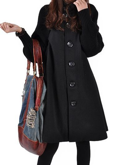 Black Button Closure Long Sleeve Swing Coat
