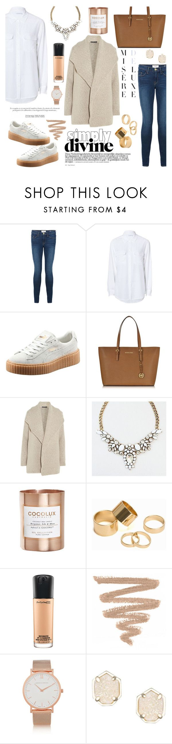"""Jeans and shirts"" by deckerandlee on Polyvore featuring Frame Denim, Equipment, Puma, Michael Kors, James Perse, Cocolux, Pieces, MAC Cosmetics, Larsson & Jennings and Kendra Scott"