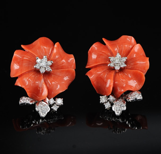 Spectacular Sicily carved coral and diamond high class earrings usd1650