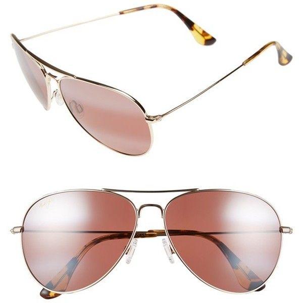 Women's Maui Jim 'Mavericks' 61Mm Polarizedplus2 Aviator Sunglasses (960 BRL) ❤ liked on Polyvore featuring accessories, eyewear, sunglasses, maui jim sunglasses, lens glasses, maui jim glasses, maui jim eyewear and aviator sunglass