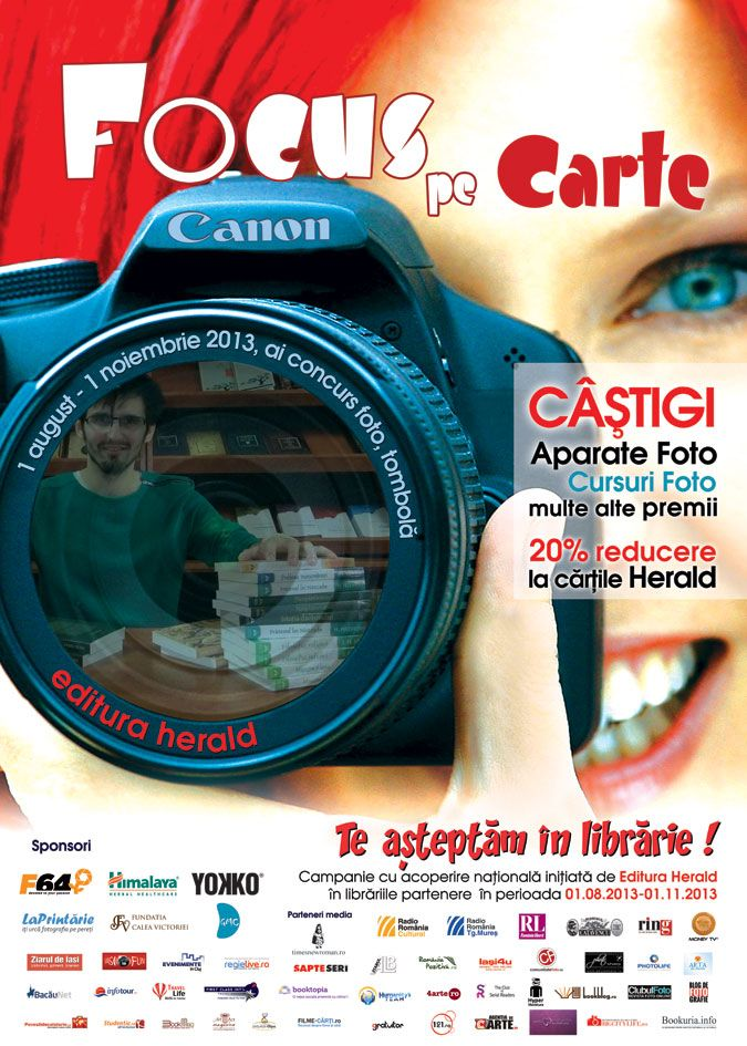"""Campania ,,Te aşteptăm în librarie!"""" - ediţia a V-a, 2013  Rolul campaniei este de a încuraja cititorii să redescopere librăria ca loc privilegiat de întâlnire cu universul cărţii şi să-l cunoască pe librar ca promotor activ al culturii scrise.  ,,Focus pe Carte!"""" este sloganul celei de-a 5-a ediţii a campaniei ,,Te aşteptăm în librărie!"""", iniţiată de Editura Herald în parteneriat cu peste 90 de librării din toată ţara.   http://www.teasteptaminlibrarie.ro/despre-editia-2013"""