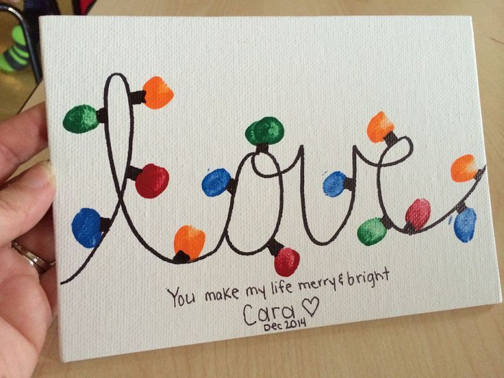 """Christmas gift from students to parents: """"love"""" Christmas lights and saying """"You make my life bright and merry"""""""