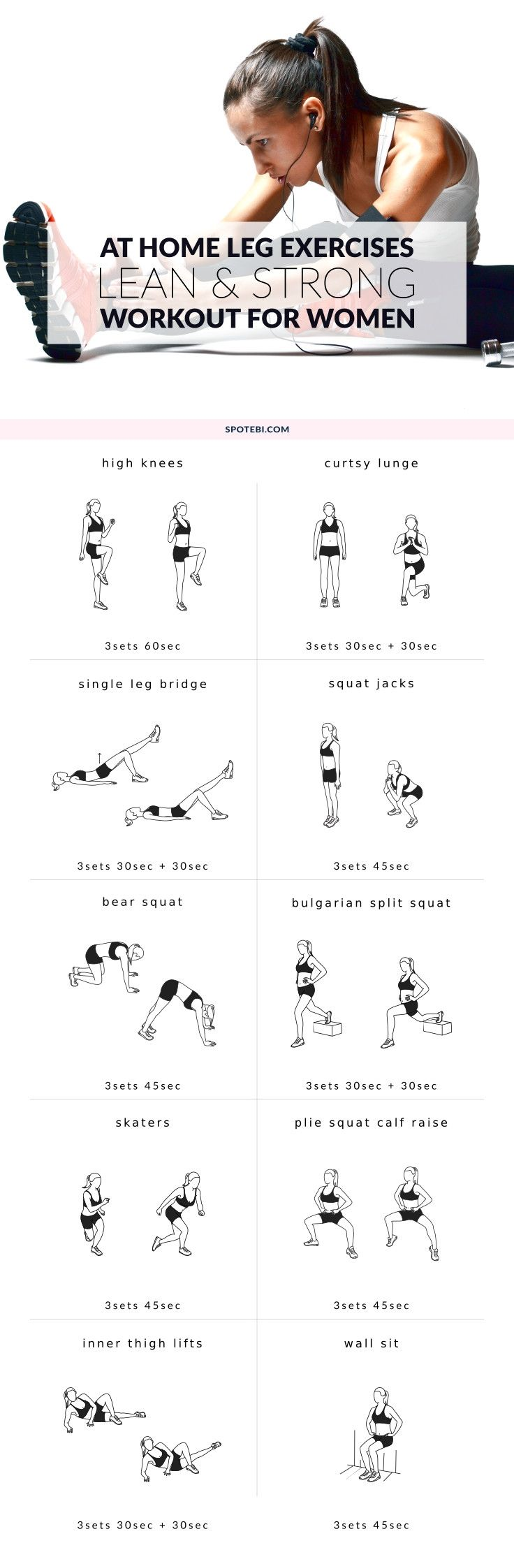 Upgrade your workout routine with these 10 leg exercises for women. Work your thighs, hips, quads, hamstrings and calves at home to build shapely legs and get the lean and strong lower body you've always wanted! http://www.spotebi.com/workout-routines/at-home-leg-exercises-women/ #weightlossrecipes
