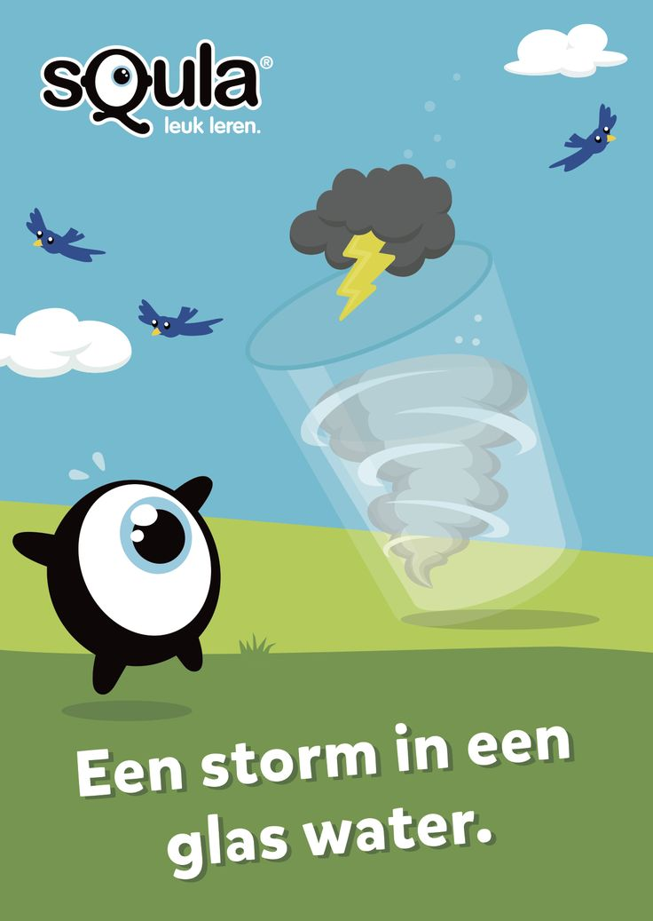 Jezelf druk maken om (bijna) niets.  Educatieve poster met Nederlandse spreekwoorden en gezegden: Een storm in een glas water.